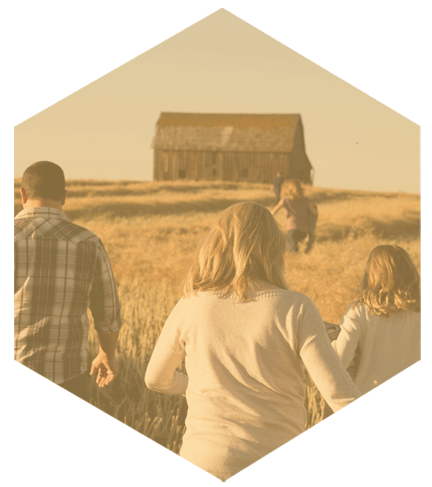 Image of a young family walking through a wheat field towards a barn