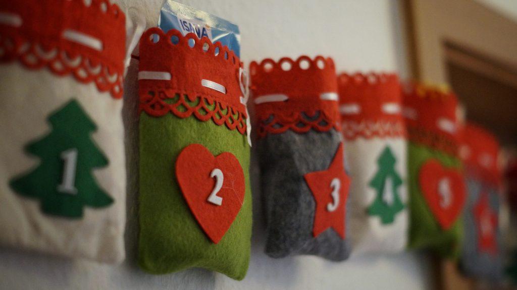 Advent calendar made of tiny stockings